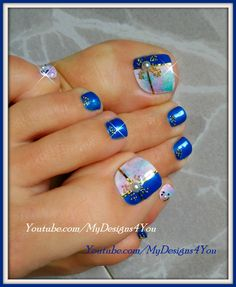 blue nails, nail art, and pedicure image Pedicure Designs, Pedicure Nail Art, Toe Nail Designs, Toe Nail Art, Glitter Toe Nails, Blue Nails, Pretty Toe Nails, Summer Toe Nails, Vacation Nails