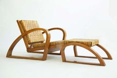 Francis Jourdain Adjustable Chair and Ottoman | From a unique collection of antique and modern lounge chairs at https://www.1stdibs.com/furniture/seating/lounge-chairs/