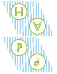 無料のPrintables男の子の誕生日ハッピーバースデーバナー青緑1
