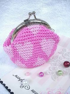 Crochet coin purse with frame l0ve l0ve l0ve