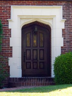 Interior, : Entrancing Small Front Porch Decoration Design Ideas Using Black Wood Single Main Door Along With Post Front Porch Pendant Lamp And Brown Brick Front Porch Wall Wooden Door Design, Main Door Design, Front Door Design, Entrance Design, Main Entrance, Wall Design, Wooden Door Hangers, Wooden Doors, Porch Wall