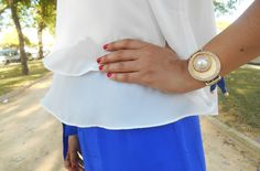 http://unachicasual.blogspot.com.es/2015/05/feria-del-caballo.html  look, summer, spring, blue, palazzo, pants, top, white, ootd, outfit, girl, ideas, inspiration, blogger, gold, bracelet