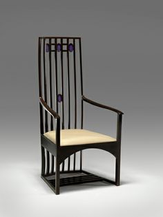 This piece falls more into the deign arena- I love it!  Armchair (for Hous'hill, Catherine Cranston's residence, Glasgow, Scotland) c. 1904  Charles Rennie Mackintosh   (Scottish, 1868 - 1928) Made by Alex Martin  (Scotland, active 1898-1909) Glass by McCulloch and Company   (Scotland)  Virginia Museum of Art  Stained wood, glass, upholstery