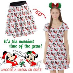 Deck the Halls with These Disney Christmas Skirts Very Merry Christmas, Disney Christmas, Cute Disney, Disney Style, 1950s Skirt, Christmas Skirt, Disney Dresses, High Waisted Skirt, Short Sleeve Dresses