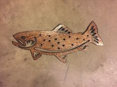 Hello, and thanks for your interest in my brown trout metal artwork. The dimensions for the listed idem is 9 tall by 21 wide. This metal artwork is made by hand with patina steel to make this one of a kind piece Price 69.99  Bear Mountain Metal Art is based out of Fort Collins Colorado and operated by artist Bobby Singleton. Artwork is made by drawing the design out on a sheet of cold rolled steel and using a hand held plasma cutter to cut out the shapes for the piece. After that Bobby…