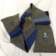 100 wool upcycled blue and green pocket scarf by 47Sweaters, $58.95