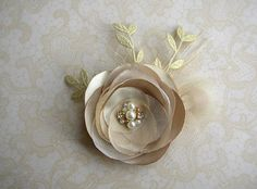 Gold Bridal Hair Clip Gold Headpiece Champagne Wedding
