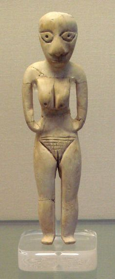 ca. 4,000 BCE. Carved Badari figurine, hippopotamus ivory. This style of naked woman, formed from wood, bone or clay, is found in burials of both Badarian men and women, the earliest identifiable culture in Predynastic Egypt. British Museum