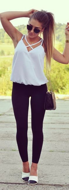 Women's fashion | Criss cross white cami with leggings and flats