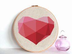 Heart Cross Stitch Pattern Geometric Cross by AnimalsCrossStitch