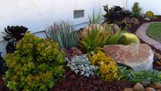 Amazing Beautiful Garden Landscaping With Succulents - Gartengestaltung Succulent Landscaping, Outdoor Landscaping, Front Yard Landscaping, Backyard Landscaping, Landscaping Ideas, Backyard Ideas, Succulent Gardening, Low Maintenance Landscaping, Low Maintenance Garden