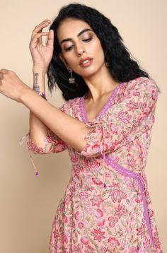 mul angrakha & trousers - pastel pink & jasmine - maati crafts Yellow Dress, Gray Dress, Pink Jasmine, Latest Kurti, Everyday Dresses, Green Stripes, Asymmetrical Dress, Pastel Pink, Jacket Dress