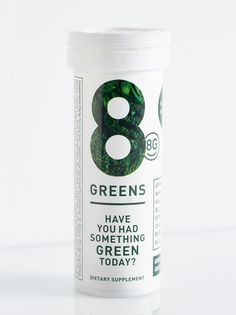 8 Greens   **8G**    Getting your daily dose of vitamins and minerals has never been easier. Treat your body to an easy-to-use dissolving tablet packed with a nourishing blend of eight essential greens: Spirulina, Kale, Spinach, Chlorella, Wheatgrass, Barley Grass, Aloe Vera and Blue Green Algae. Each freeze dried tablet is high in antioxidants, vitamins and minerals and works to increase circulation, balance the body's PH level, support healthy organs and reduce the signs of aging. The…