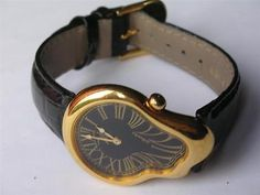 genuine rare Salvador Dali goldplated museum melting softwatch watch