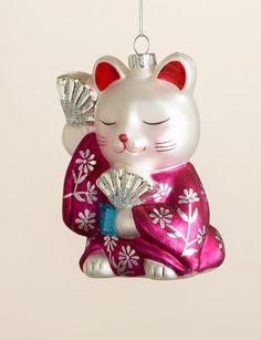 Maneki Neko Cat Japanese Geisha Christmas Ornament Blown Glass Magenta Kimono | eBay