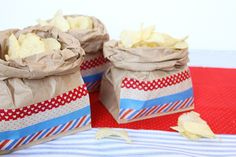 Summer picnic serving bags - or favors- made with brown bags and washi tape.