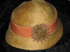 C. 20's Beaver Fur Cloche Hat w/Ornate Metallic Starburst Emblem