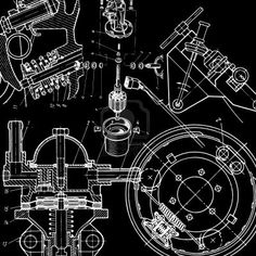 Technical Drawing On Black Background Royalty Free Cliparts, Vectors, And Stock Illustration. Image 9511271.
