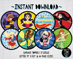 DC Superhero Girls Cupcake Toppers Birthday Party Labels Tags