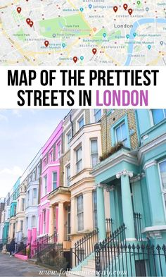 10 Prettiest Streets In London + Map To Find Them The prettiest streets in London are a must-see when visiting the city! From the best shopping streets in London to cute pastels, there is something to see! London Map, London Places, Brighton To London, Tourist Map Of London, London Travel Blog, London Tube Map, London Food, Hyde Park London, Notting Hill London