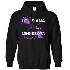 (LAJustTim002) Just A Louisana Girl In A Minnesota Worl - #boyfriend gift #bestfriend gift. CHEAP PRICE => https://www.sunfrog.com/Valentines/-28LAJustTim002-29-Just-A-Louisana-Girl-In-A-Minnesota-World-Black-Hoodie.html?68278