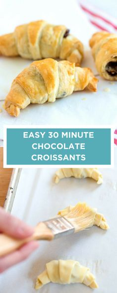 This 30 minute croissant recipe is so easy. Thanks to store-bought puff pastry, you really can make flaky, homemade chocolate croissants in no time. Chocolate Croissants, Chocolate Pastry, Homemade Chocolate, Vegan Chocolate, Chocolate Croissant Recipe Easy, Mini Croissants, Cooking Chocolate, Chocolate Muffins, Strudel