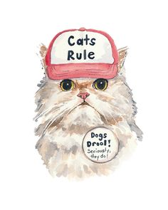 Angry Cat Watercolor PRINT - 5x7 Persian Cat Watercolour, Cat In a Hat, Trucker Hat, Funny Painting #cat #catart