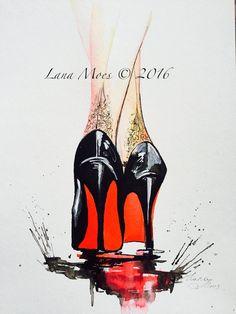 Arte Moda Ilustración de moda pintura acuarela por por LanasArt