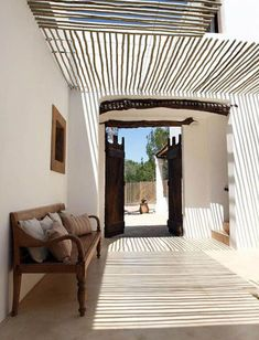 Browse through these Resort Style Pergolas and Awnings, see how House of Bamboo can add an elegant touch to your place. Beach House Tour, Villa Design, House Design, Modern Rustic Homes, Mediterranean Style Homes, Mediterranean Architecture, Charming House, Rustic Bathrooms, Resort Style