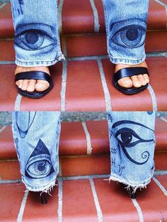 SYMBOL JEANSCustom Hand Painted Denim Jeans by LightCircleArt, $300.00