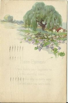 Antique Postcard Happy Birthday... Wheeping by postcardsintheattic, $4.99