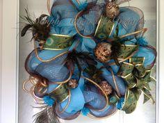 Beautiful and elegant peacock wreath