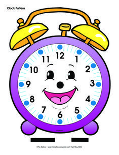 Alarm Clock, Lesson Plans - The Mailbox Teaching Time, Teaching Reading, Teaching Math, English Activities, Activities For Kids, Math Clock, Clock Clipart, Clock Template, Math Patterns