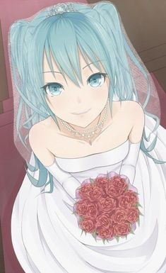 Vocaloid- Hatsune Miku In Wedding Attire Manga Anime, Chibi Anime, Manga Girl, Anime Art, Anime Girls, Hatsune Miku Vocaloid, Kagamine Rin And Len, Miku Chan, Vocaloid Funny
