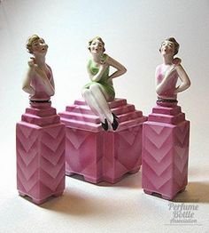 Three Flapper Ladies. Bavarian porcelain perfume bottle - circa 1920
