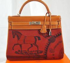 e2a7b362b8db Rare Hermes Kelly Bag 32cm Amazon Barenia Toile Rouge H Horse Print Hermes  Kelly Bag