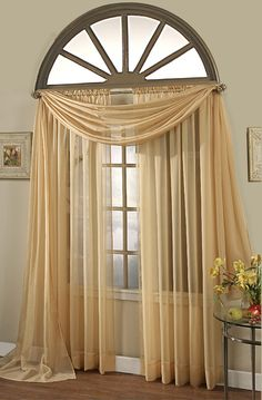 Sheer Elegance Voile Curtains In Colors And Styles For Every Window! A large variety of wonderful colors to complement every color scheme, adding a light, airy look to any room.   #Scarf Panels
