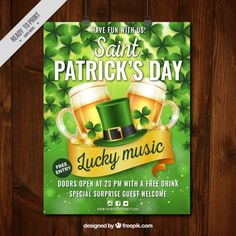St patrick's day party poster in realistic style Free Vector