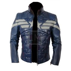 Captain America The Winter Soldier Genuine Leather Jacket 2014 Grey Star And Stripes 5