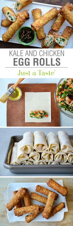 Kale and Chicken Egg Rolls #recipe on justataste.com