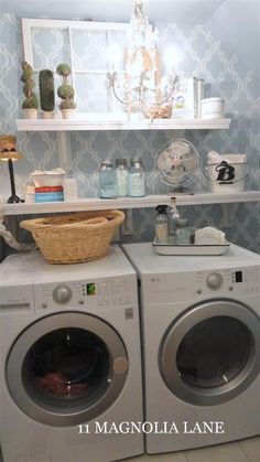 I want a pretty laundry room! Small laundry room redo with vintage touches and DIY cafe-style shelving. Small Laundry Rooms, Laundry Closet, Laundry Room Organization, Laundry Room Design, Laundry In Bathroom, Laundry Area, Laundry Decor, Basement Laundry, Laundry Cupboard