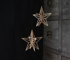 Wooden Star  Birch Crystal Christmas decoration by ValonaDesign