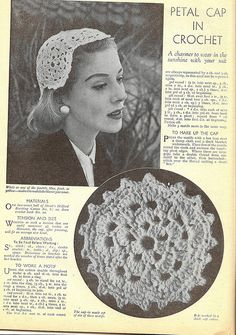Crochet petal cap hat, 1955, from Woman and Home magazine. #vintage #1950s #hats #crocheting