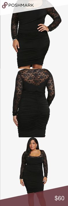 "Torrid Size 2/2X Black Lace Illusion Shirred Dress Excellent condition. No flaws. Perfect for a NYE party! This sexy black bodycon dress has a sweetheart neckline that is visible due to the seductive lace inset across the shoulders and down the long sleeves. Creating a knockout fit that flatters, the LBD features side and back shirring that hugs in all the right places. Torrid size 2 which is equivalent to a 2X. Measurements taken laid flat: bust approximately 20"", Length approximately 44""…"