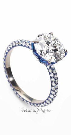Regilla ⚜ Glenn Spiro blue titanium ring with round brilliant-cut solitaire and pavé diamonds