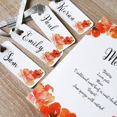 Our beautiful burnt oranges & silver ribbon table stationary! We designed this wedding stationary using the latest bold colour trends! We finished the look with silver ribbon! Name Tag Templates, Plan Design, Orange Flowers, Wedding Stationary, Table Plans, Table Numbers, Color Trends, Flower Designs, A Table