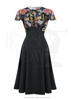 1940s Grable Tea Swing Dance Dress in Peony & Black