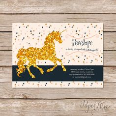 Penelope Unicorn Birthday Party Invitation by Paper Hive Studio  Celebrate your childs birthday with our magical unicorn invitation. Featuring a gold glitter unicorn on a galaxy of stars background. Please Note: This card contains elements designed to look like glitter, but there is no actual glitter on the card. ✤ Details ✤  Colors may be customized to fit your party theme This listing is for a 4x6 or 5x7 inch invitation customized with your event details  Please Note: ➼ Special paper is…