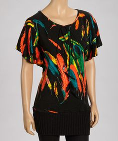 Take a look at this Black Feather Tunic by Fantazia on #zulily today!30