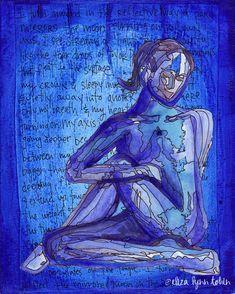 Yoga Art Print - Turning Inward - yoga wall art, sacred space art, yoga artwork, yoga gift  by Eliza Lynn Tobin